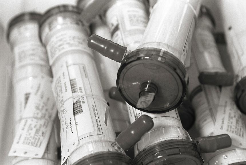 A closeup of dialysis filters.