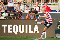 Megan Rapinoe (15) of the United States (USA) takes a corner kick. The United States (USA) women defeated China PR (CHN) 4-1 during an international friendly at PPL Park in Chester, PA, on May 27, 2012.