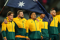 The Wallabies sing the national anthem during the Bledisloe Cup rugby match between the New Zealand All Blacks and Australia Wallabies at Eden Park in Auckland, New Zealand on Saturday, 14 August 2021. Photo: Simon Watts / lintottphoto.co.nz / bwmedia.co.nz