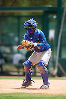 GCL Blue Jays catcher Manuel Herazo (9) waits for a throw during a game against the GCL Braves on August 5, 2016 at ESPN Wide World of Sports in Orlando, Florida.  GCL Braves defeated the GCL Blue Jays 9-0.  (Mike Janes/Four Seam Images)