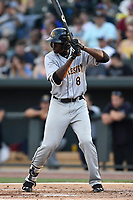 Center fielder Estevan Florial (8) of the Charleston RiverDogs bats in a game against the Columbia Fireflies on Friday, June 9, 2017, at Spirit Communications Park in Columbia, South Carolina. Columbia won, 3-1. (Tom Priddy/Four Seam Images)