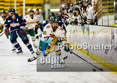 9 February 2020: University of Vermont Catamount Defender Ellice Murphy, a Sophomore from Roseau, MN, in first period action against the University of Connecticut Huskies at Gutterson Fieldhouse in Burlington, Vermont. The Lady Cats defeated the Huskies 6-2 in the second game of their weekend Hockey East series. Mandatory Credit: Ed Wolfstein Photo *** RAW (NEF) Image File Available ***
