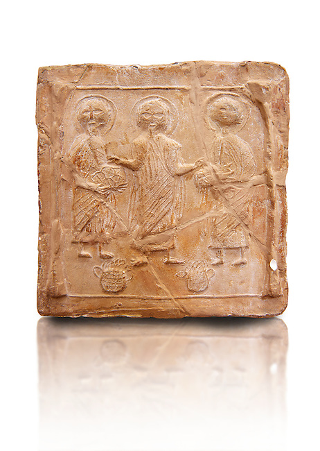 6th-7th Century Eastern Roman Byzantine  Christian Terracotta tiles depicting Christ changing Water into wine - Produced in Byzacena -  present day Tunisia. <br /> <br /> These early Christian terracotta tiles were mass produced thanks to moulds. Their quadrangular, square or rectangular shape as well as the standardised sizes in use in the different regions were determined by their architectonic function and were designed to facilitate their assembly according to various combinations to decorate large flat surfaces of walls or ceilings. <br /> <br /> Byzacena stood out for its use of biblical and hagiographic themes and a richer variety of animals, birds and roses. Some deer and lions were obviously inspired from Zeugitana prototypes attesting to the pre-existence of this province's production with respect to that of Byzacena. The rules governing this art are similar to those that applied to late Roman and Christian art with, in the case of Byzacena, an obvious popular connotation. Its distinguishing features are flatness, a predilection for symmetrical compositions, frontal and lateral representations, the absence of tridimensional atti-tudes and the naivety of some details (large eyes, pointed chins). Mass production enabled this type of decoration to be widely used at little cost and it played a role as ideograms and for teaching catechism through pictures. Painting, now often faded, enhanced motifs in relief or enriched them with additional details to break their repetitive monotony.<br /> <br /> The Bardo National Museum Tunis, Tunisia. v