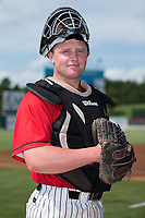 Kannapolis Intimidators catcher Evan Skoug (14) poses for a photo prior to the game against the Greensboro Grasshoppers at Kannapolis Intimidators Stadium on August 13, 2017 in Kannapolis, North Carolina.  The Grasshoppers defeated the Intimidators 4-1 in 10 innings in the completion of a game suspended on August 12, 2017.  (Brian Westerholt/Four Seam Images)