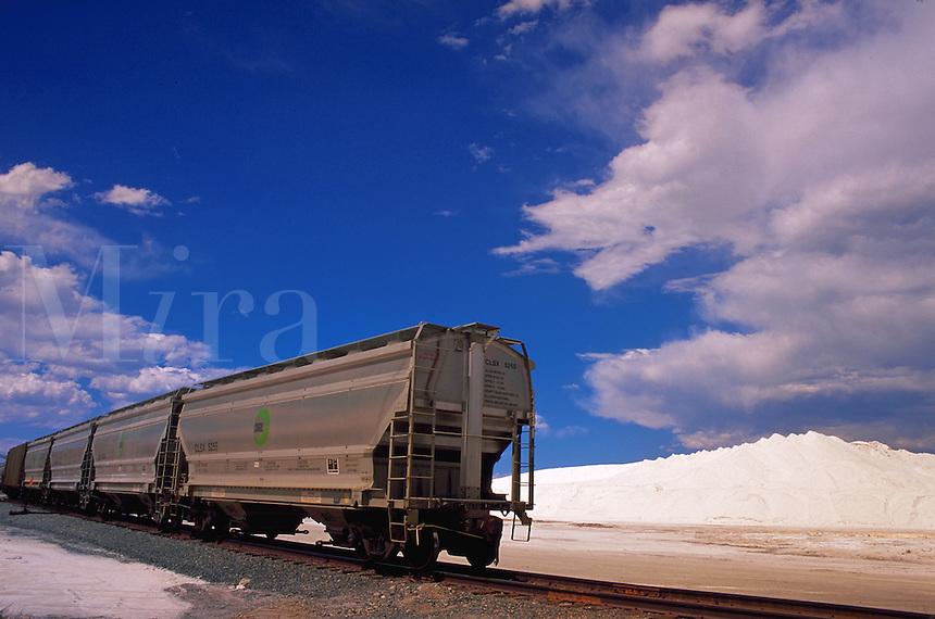 Food industry uses trains to transport mined salt, Grantsville, Utah