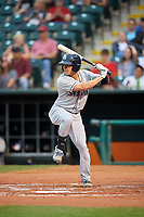 Colorado Springs Sky Sox left fielder Kyle Wren (5) at bat during a game against the Oklahoma City Dodgers on June 2, 2017 at Chickasaw Bricktown Ballpark in Oklahoma City, Oklahoma.  Colorado Springs defeated Oklahoma City 1-0 in ten innings.  (Mike Janes/Four Seam Images)
