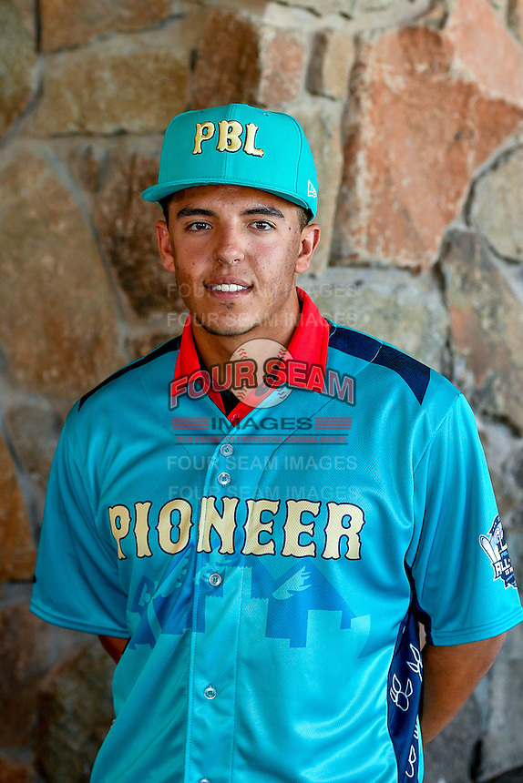 Colton Welker (12) of the Grand Junction Rockies and the Pioneer League All-Stars poses for a photo during activities before the 2nd Annual Northwest League-Pioneer League All-Star Game at Snowbasin Resort on August 1, 2016 in Ogden, Utah. (Stephen Smith/Four Seam Images)