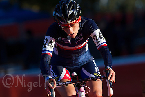 03 NOV 2012 - IPSWICH, GBR - Lucie Chainel-Lefevre (FRA) of France makes her way round the course during the Elite Women's European Cyclo-Cross Championships in Chantry Park, Ipswich, Suffolk, Great Britain (PHOTO (C) 2012 NIGEL FARROW)