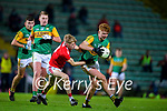 Caolán Ó Connaill, Kerry in action against Richard O'Sullivan, Cork during the Munster Minor Semi-Final between Kerry and Cork in Austin Stack Park on Tuesday evening.
