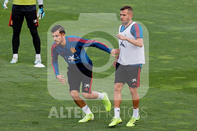 Dani Ceballos and Jordi Alba during the Trainee Session at Ciudad del Futbol in Las Rozas, Spain. September 02, 2019. (ALTERPHOTOS/A. Perez Meca)