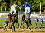 June 5, 2021: Jockey Luis Saez (right) is congratulated by jockey Flavien Prat after winning the Belmont Stakes aboard Essential Quality on Belmont Stakes Day at Belmont Park in Elmont, New York. Scott Serio/Eclipse Sportswire/CSM