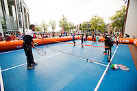 September 11, 2014, Netherlands, Amsterdam, Ziggo Dome, Davis Cup Netherlands-Croatia, Draw, Street tennis with Jean-Julien Rojer (NED)<br /> Photo: Tennisimages/Henk Koster