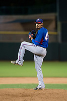 AZL Rangers relief pitcher Werner Leal (45) delivers a pitch to the plate against the AZL Giants on September 4, 2017 at Scottsdale Stadium in Scottsdale, Arizona. AZL Giants defeated the AZL Rangers 6-5 to advance to the Arizona League Championship Series. (Zachary Lucy/Four Seam Images)