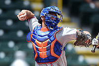St. Lucie Mets catcher Colton Plaia (26) throws down to second during a game against the Bradenton Marauders on April 12, 2015 at McKechnie Field in Bradenton, Florida.  Bradenton defeated St. Lucie 7-5.  (Mike Janes/Four Seam Images)