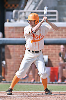 Tennessee Volunteers right fielder Chris Hall (5) awaits a pitch during game one of a double header against the UC Irvine Anteaters at Lindsey Nelson Stadium on March 12, 2016 in Knoxville, Tennessee. The Volunteers defeated the Anteaters 14-4. (Tony Farlow/Four Seam Images)