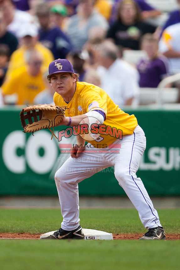 LSU Tigers first baseman Mason Katz #8 at first base during the NCAA baseball game against the Mississippi State Bulldogs on March 18, 2012 at Alex Box Stadium in Baton Rouge, Louisiana. LSU defeated Mississippi State 4-2. (Andrew Woolley / Four Seam Images).