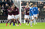 Hearts v St Johnstone…26.01.19…   Tynecastle    SPFL<br />Marcus Godinho celebrates his goal with Arnuad Djoum and Sean Calre<br />Picture by Graeme Hart. <br />Copyright Perthshire Picture Agency<br />Tel: 01738 623350  Mobile: 07990 594431