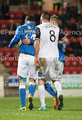St Johnstone v Inverness Caledonian Thistle...20.12.14   SPFL<br /> David Wotherspoon ushers Brian Graham away from Ross Draper after the oenalty incident<br /> Picture by Graeme Hart.<br /> Copyright Perthshire Picture Agency<br /> Tel: 01738 623350  Mobile: 07990 594431