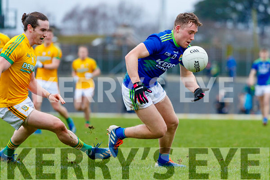 Dara Moynihan, Kerry in action against Cillian O'Sullivan, Meath during the Allianz Football League Division 1 Round 4 match between Kerry and Meath at Fitzgerald Stadium in Killarney, on Sunday.