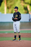 Bristol Pirates starting pitcher Roger Santana (34) gets ready to deliver a pitch during the second game of a doubleheader against the Bluefield Blue Jays on July 25, 2018 at Bowen Field in Bluefield, Virginia.  Bristol defeated Bluefield 5-2.  (Mike Janes/Four Seam Images)