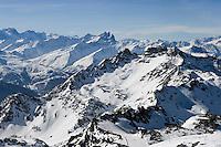 Europe/France/Rhone-Alpes/73/Savoie/Val-Thorens : les Aiguilles d'Arves vues depuis la Cime  de Caron (3200m)