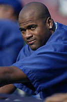 Kelvim Escobar of the Toronto Blue Jays before a 2002 MLB season game against the Los Angeles Dodgers at Dodger Stadium, in Los Angeles, California. (Larry Goren/Four Seam Images)