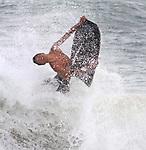Body boarding at Sandy Beach in Honolulu, HI.