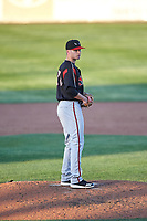 Lake Elsinore Storm starting pitcher Aaron Leasher (28) during a California League game against the Lancaster JetHawks on April 10, 2019 at The Hanger in Lancaster, California. Lake Elsinore defeated Lancaster 10-0 in the first game of a doubleheader. (Zachary Lucy/Four Seam Images)