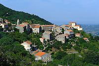 Blick auf Sollacaro, Korsika, Frankreich