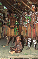Oceania,Papua New Guinea, Septik river village family group