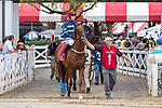 August 18, 2021: #1 City Dreamer (IRE) ridden by Parker Hendriks in the post parade before the start of the Grade 1 Jonathan Sheppard Handicap at Saratoga Race Course in Saratoga Springs, N.Y. on August 18, 2021. <br /> Robert Simmons/Eclipse Sportswire/CSM