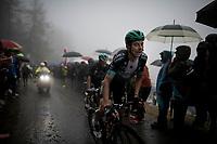 Davide Formolo (ITA/Bora-Hansgrohe) up the extremely wet, cold & misty Cole di Mortirolo <br /> <br /> Stage 16: Lovere to Ponte di Legno (194km)<br /> 102nd Giro d'Italia 2019<br /> <br /> ©kramon