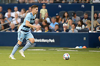 KANSAS CITY, KS - JULY 31: Andreu Fontas #3 Sporting KC with the ball during a game between FC Dallas and Sporting Kansas City at Children's Mercy Park on July 31, 2021 in Kansas City, Kansas.