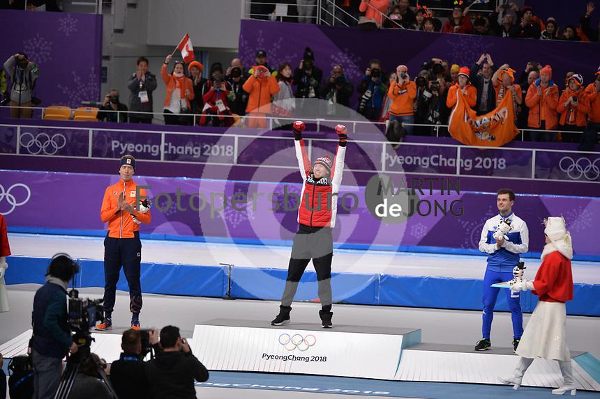 OLYMPIC GAMES: PYEONGCHANG: 15-02-2018, Gangneung Oval, Long Track, 10.000m Men, Final results, Jorrit Bergsma (NED), Ted-Jan Bloemen (CAN), Nicola Tumolero (ITA), ©photo Martin de Jong