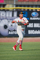 Johnson City Cardinals left fielder Leandro Cedeno (5) throws back to the infield during the first game of a doubleheader against the Princeton Rays on August 17, 2018 at Hunnicutt Field in Princeton, Virginia.  Johnson City defeated Princeton 6-4.  (Mike Janes/Four Seam Images)