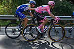 Race leader Maglia Rosa Joao Almeida (POR) gets a helping hand from Fausto Masnada (ITA) Deceuninck-Quick Step during Stage 6 of the 103rd edition of the Giro d'Italia 2020 running 188km from Castrovillari to Matera, Sicily, Italy. 7th October 2020.  <br /> Picture: LaPresse/Fabio Ferrari | Cyclefile<br /> <br /> All photos usage must carry mandatory copyright credit (© Cyclefile | LaPresse/Fabio Ferrari)