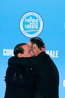 SILVIO BERLUSCONI ABBRACCIA IL NEO ELETTO SEGRETARIO DEL PDL ANGELINO ALFANO.Roma 01/07/2011 Consiglio Nazionale del PDL..Photo Samantha Zucchi Insidefoto