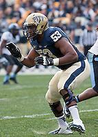 Pitt offensive lineman Dorian Johnson. The North Carolina Tar Heels defeated the Pitt Panthers 34-27 at Heinz Field, Pittsburgh Pennsylvania on November 16, 2013.