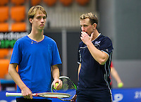 Rotterdam,Netherlands, December 15, 2015,  Topsport Centrum, Lotto NK Tennis,  Doubles, Kevin Boelhouwer/Stefan de Jong (L)<br /> Photo: Tennisimages/Henk Koster