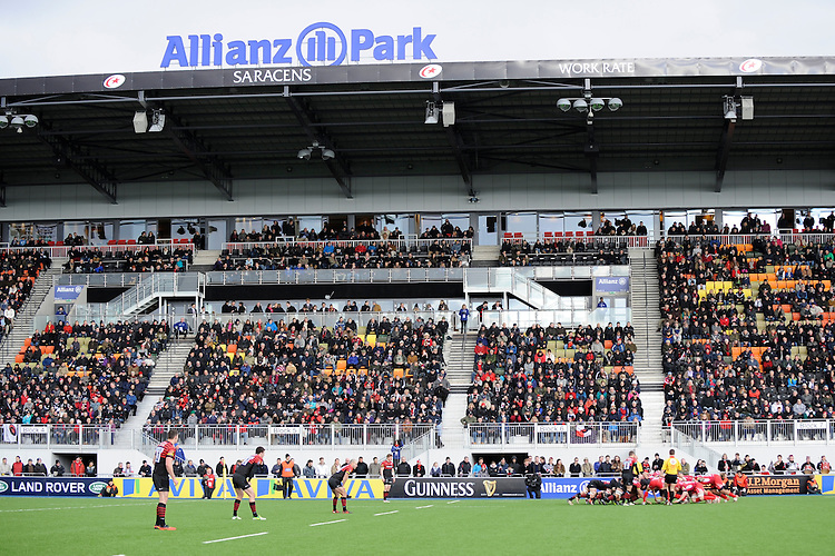 20130303 Copyright onEdition 2013©.Free for editorial use image, please credit: onEdition..General view of a scrum during the Premiership Rugby match between Saracens and London Welsh at Allianz Park on Sunday 3rd March 2013 (Photo by Rob Munro)..For press contacts contact: Sam Feasey at brandRapport on M: +44 (0)7717 757114 E: SFeasey@brand-rapport.com..If you require a higher resolution image or you have any other onEdition photographic enquiries, please contact onEdition on 0845 900 2 900 or email info@onEdition.com.This image is copyright onEdition 2013©..This image has been supplied by onEdition and must be credited onEdition. The author is asserting his full Moral rights in relation to the publication of this image. Rights for onward transmission of any image or file is not granted or implied. Changing or deleting Copyright information is illegal as specified in the Copyright, Design and Patents Act 1988. If you are in any way unsure of your right to publish this image please contact onEdition on 0845 900 2 900 or email info@onEdition.com