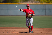 Los Angeles Angels second baseman Zane Gurwitz (71) during an Extended Spring Training game against the Chicago Cubs at Sloan Park on April 14, 2018 in Mesa, Arizona. (Zachary Lucy/Four Seam Images)