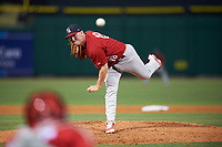 Palm Beach Cardinals starting pitcher Ian McKinney (18) delivers a pitch during the second game of a doubleheader against the Clearwater Threshers on April 13, 2017 at Spectrum Field in Clearwater, Florida.  Palm Beach defeated Clearwater 1-0.  (Mike Janes/Four Seam Images)