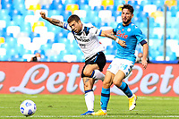 Alejandro Gomez of Atalanta BC and Dries Mertens of SSC Napoli compete for the ball during the Serie A football match between SSC Napoli and Atalanta BC at San Paolo stadium in Naples (Italy), October 17th 2020. Photo Cesare Purini / Insidefoto