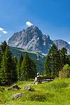 Italy, South Tyrol (Trentino - Alto Adige), Dolomites: hiking area near Gardena Pass (Passo Gardena), Sassolungo mountain at background | Italien, Suedtirol (Trentino - Alto Adige), Dolomiten: Wandergebiet am Groednerjoch, im Hintergrund der Langkofel