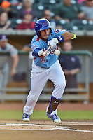 Tennessee Smokies right fielder Albert Almora Jr. (6) squares to bunt during a game against the Chattanooga Lookouts on April 25, 2015 in Kodak, Tennessee. The Smokies defeated the Lookouts 16-10. (Tony Farlow/Four Seam Images)