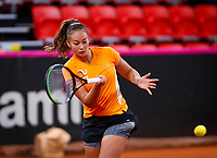 The Hague, The Netherlands, Februari 4, 2020,    Sportcampus, FedCup  Netherlands -  Balarus, practise, Lesley Kerkhove (NED)<br /> Photo: Tennisimages/Henk Koster