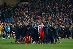 Atletico de Madrid´s players prepare before penalty shootouts during the UEFA Champions League round of 16 second leg match between Atletico de Madrid and Bayer 04 Leverkusen at Vicente Calderon stadium in Madrid, Spain. March 17, 2015. (ALTERPHOTOS/Victor Blanco)