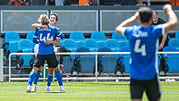 SAN JOSE, CA - APRIL 24: Cade Cowell #44 and Carlos Fierro #7 of the San Jose Earthquakes celebrate a goal during a game between FC Dallas and San Jose Earthquakes at PayPal Park on April 24, 2021 in San Jose, California.