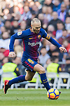 Andres Iniesta Lujan of FC Barcelona in action during the La Liga 2017-18 match between Real Madrid and FC Barcelona at Santiago Bernabeu Stadium on December 23 2017 in Madrid, Spain. Photo by Diego Gonzalez / Power Sport Images