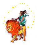 Leo zodiac sign over white background